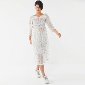 House of Sunny Sheer Floral Dress Urban Outfitters